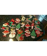 19 Vintage Flat Wood Wooden Christmas ornaments Hand Painted Paint by Nu... - $68.01