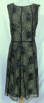 ANNE KLEIN Sleeveless Lace Fit n' Flare Gold Megtallic Overlay Black Dre... - $44.09