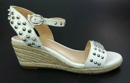 Vince Camuto White Studded Adalina Ankle Strap Wedge Heels Sandals Shoes 4 M - $74.48
