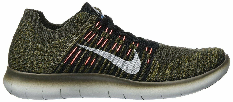 Men's Nike Free RN Flyknit Running Shoes, 831069 301 Sizes 8.5-13 Khaki/Blk/Mang image 6
