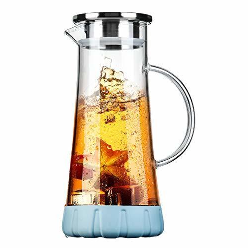 BOQO Glass Water Pitcher, 50 Oz Drip-Free Glass Pitcher with Lid, Glass Water Ju