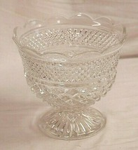 Wexford Clear by Anchor Hocking Glass Footed Centerpiece Bowl Scalloped Edge MCM - $69.29