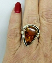 Poland Signed Ps Sterling Silver Pear Shaped Amber Modernist Ring Size 9 - $64.31