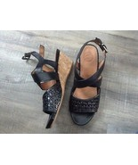 New Nurture Harrpper Cork Wedge Leather Sandal Shoes black Size 8 - $45.57
