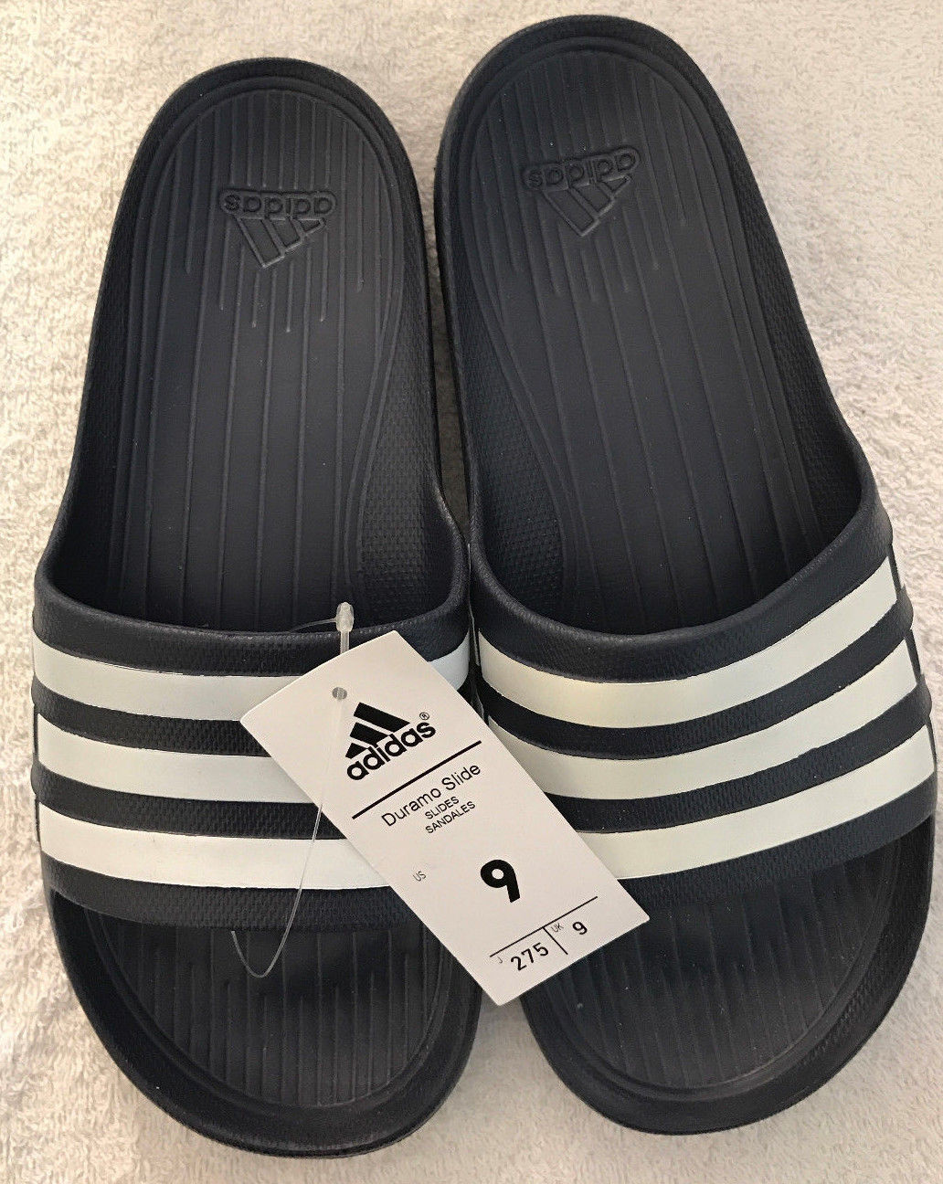 ee6493319 Adidas Duramo G15892 Mens Navy White Slides and 44 similar items. S l1600