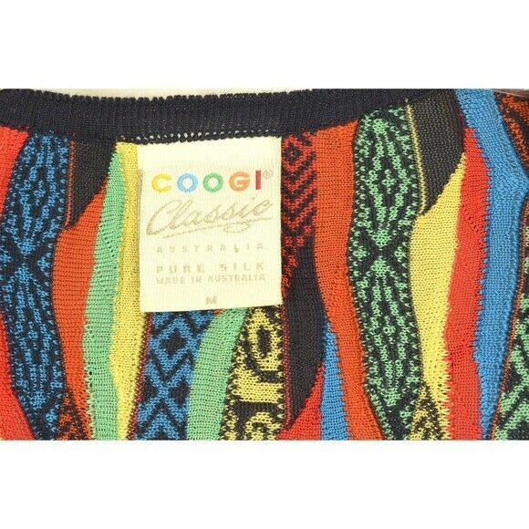 COOGI-sweater-SZ-M-100-silk-cardigan-brilliant-colorful lightweight image 4