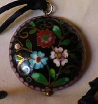 Vintage 1960s Champleve Enamel 2 Sided Pendant Pink Blue Magenta Flower ... - $75.00