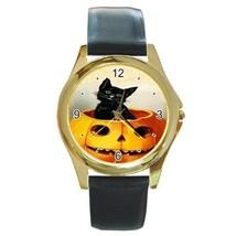 MERRY HALLOWEEN BLACK CAT & PUMPKIN GOLD-TONE WATCH 7 OTHER STYLES ADORA... - $25.99