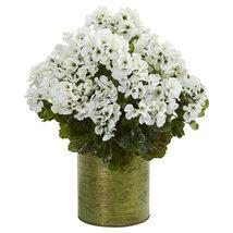 Geranium Artificial Plant in Metal Planter UV Resistant (Indoor/Outdoor)... - $69.95