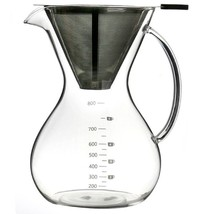 Pour Over Coffee Maker Filter Stainless Steel Glass Filter Transparent S... - $45.49