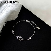 Anenjery Newest 925 Sterling Silver Bracelets Zircon CC Letters Bracelet For Wom - $13.86