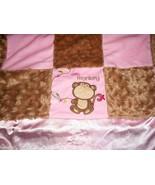 Baby Starters Little Monkey Blanket Pink Brown Tan Squares Satin - $42.45