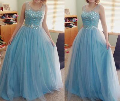 blue prom Dress,charming Prom Dress,tulle prom dress,ball gown,Long prom dresses
