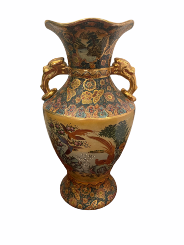 "Vintage 18"" Japanese Two Gold Gilt Handle Satsuma Vase Jug Japan Marked"
