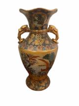 "Vintage 18"" Japanese Two Gold Gilt Handle Satsuma Vase Jug Japan Marked image 1"