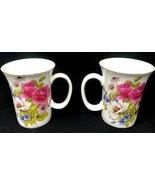 "2 Gracie China by Coastline Imports Gold Rim Floral  4""H Mug Brand New w... - $35.99"