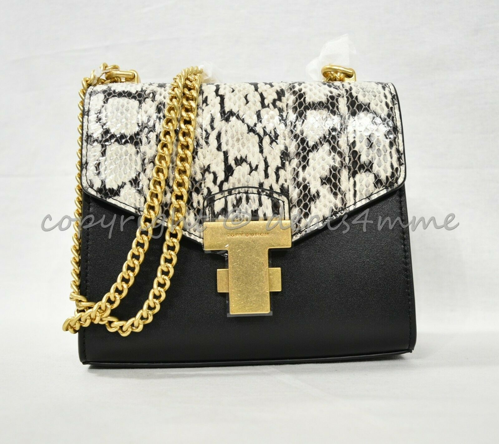 Tory Burch Juliette Snake Chain Leather Mini Bag Shoulder/Crossbody BlackNatural