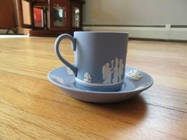 CL/WEDGEWOOD JASPERWARE BLUE TEA CUP + SAUCER! - $39.55