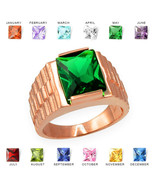 10K Rose Gold Mens Square CZ Birthstone Watchband Ring - $389.99
