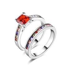 Rainbow Crystals Duo Band Rings in White Gold - $81.95