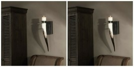 Pair Romany Santa Fe African Yellow Cattle Horn Wall Sconce Candle Holders - $435.60