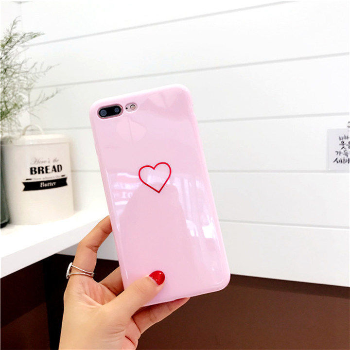 Lovely Heart Painted Phone Case For iPhone 6 7 8 Plus X Case Couples Back Soft