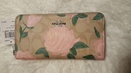 NWT COACH F26290 Floral Pink Rose Khaki Logo Signature Accordion Zip Wallet - $129.99