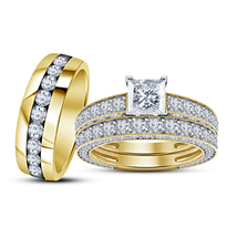 Princess Cut Diamond Yellow Gold Over 925 Silver His Her Excellent Trio ... - $152.99