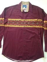 Mens Vintage Wrangler Pearl Snap Western Shirt Aztec L LS Long Tails - $68.55