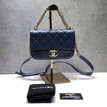 AUTHENTIC CHANEL BLUE QUILTED CAVIAR LEATHER 2 WAY TOP HANDLE MESSENGER BAG GHW image 2