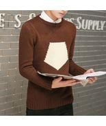 Men's Autumn Winter Brand Round Neck Sweater Men Cashmere Warm Pullover ... - $40.92