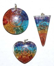 Orgone Chakra spiral (set of 3) pendant pagan gemstone - $33.00