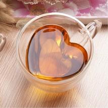 Double Wall Coffee Mugs 150ml 240ml Transparent Heart Shaped Milk Tea Cu... - $15.36+