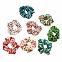 8 Pcs Colorful Christmas Hair Scrunchies Winter Velvet Hair Band Ponytail Holder