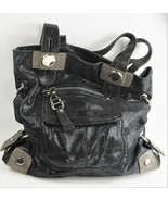AUTHENTIC B MAKOWSKY SPARKLE SLOUCH LEATHER TOTE CHUNKY METAL TRIM HANDB... - $125.00