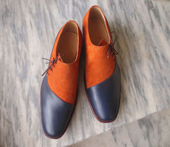 Two Blue Orange Tone Genuine Lace Up Vintage Leather Handcrafted Oxford Shoes - $139.99+
