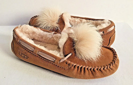 UGG DAKOTA POM POM CHESTNUT SHEARLING LINED SLIPPERS US 9 / EU 40 / UK 7... - $83.22