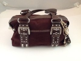 Kathy Van Zeeland Brown Studded Rhinestone Buckle Straps Faux Suede Two ... - $25.25
