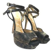 "Sam Edelman Women's Size 6 Nadine Black Gold Leopard Print 5"" Heels - $40.48"