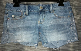 Women's Size 00 Short American Eagle Outfitters Blue Jean Sparkle Shorts H6 - $11.69