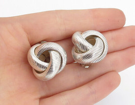 925 Sterling Silver - Vintage Shiny Knot Design Non Pierce Earrings - E9574 - $56.15