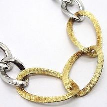 Silver necklace 925 Chain grumetta Oval, White and yellow alternating, Dangle image 3