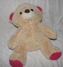 "LARGE Animal Adventure Teddy Bear 18"" 2012 Plush Stuffed Tan & PINK PAWS Soft - $37.61"