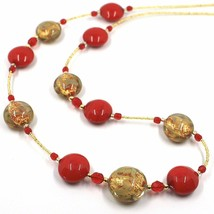 """LONG NECKLACE RED YELLOW MURANO GLASS DISC GOLD LEAF, 70cm, 27.5"""" ITALY MADE image 2"""
