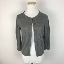 LOFT Ann Taylor Women's Gray Classic Button Front Cardigan Sweater Size ... - $14.84