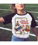 Funny Halloween Shirt Satan Vintage Women Tshirt Let's Summon Demons Gra... - $23.32