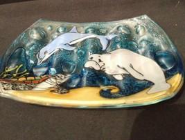 Manatee Sea Turtle Dolphin Fused Art Glass Bathroom Soap Dish Ecuador Fa... - $15.79