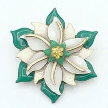 LUCINDA vintage Christmas flower pin - green white gold glitter HTF laye... - $29.40