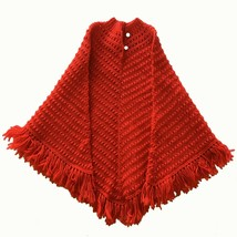 Vintage 1970's Retro Hand-Knit Red Poncho with Pearlized White Buttons C... - $30.81