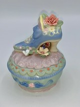 """Porcelain Musical Trinket Box Victorian Shoe with Flowers 4"""" EUC Greensl... - $13.85"""